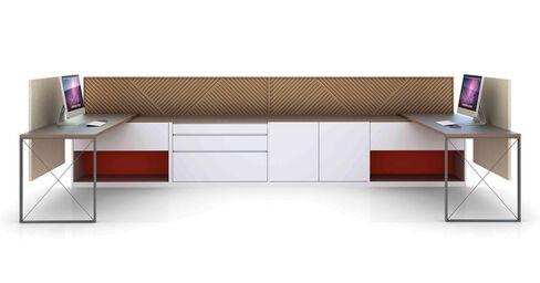 A contemporary benching configuration.