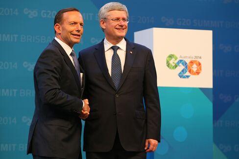 Australian PM Abbott and Canadian PM Harper