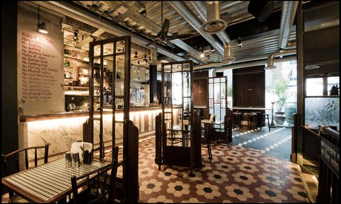 Dishoom is beautifully designed in the style of an old Bombay cafe.