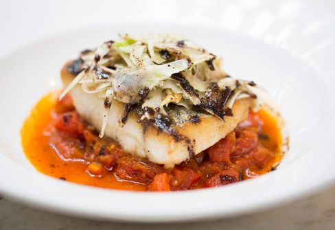 Roasted stone bass comes in a tomato and fennel stew.