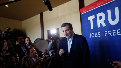Senator Ted Cruz speaks to the media before a campaign event in Borden, Indiana, on April 25, 2016.