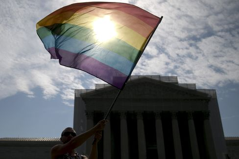A Supporter Of Gay Marriage Outside Supreme Court
