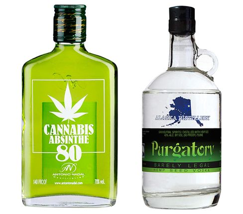 Absinthe Tunel Cannabis (left) and Alaska Distillery Purgatory hemp seed vodka.