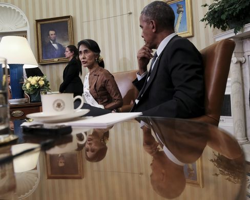 Myanmar State Counselor Aung San Suu Kyi Meets President Obama At The White House