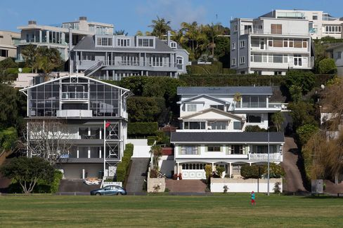 Houses stand in the suburb of Saint Heliers in Auckland, New Zealand.