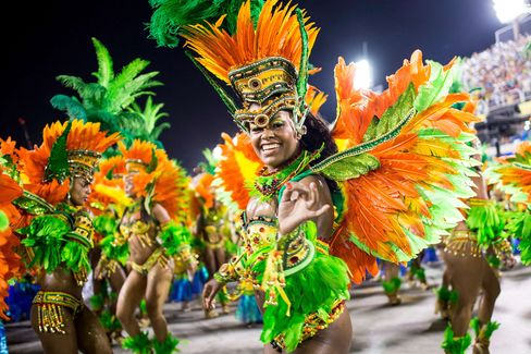 Members of Vila Isabel samba school perform during its parade at Brazilian Carnival.