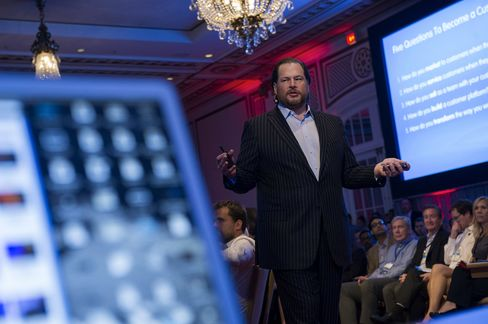 Marc Benioff, chairman and chief executive officer of Salesforce.com Inc., speaks during an event in San Francisco.