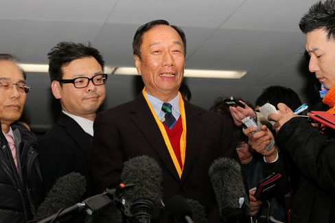 Terry Gou, chairman of Foxconn, speaks to media at the Sharp headquarters in Osaka in Early February.
