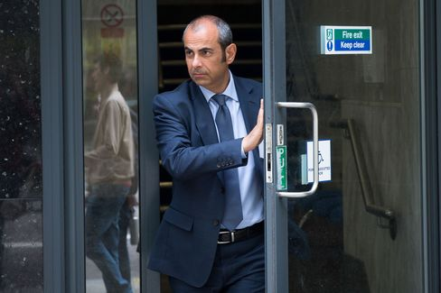 Giovanni Lombardo, a former Nomura Holdings Inc. bond salesman, leaves an employment tribunal in London on May 17.