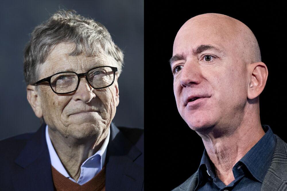 Bill Gates, left, and Jeff Bezos.