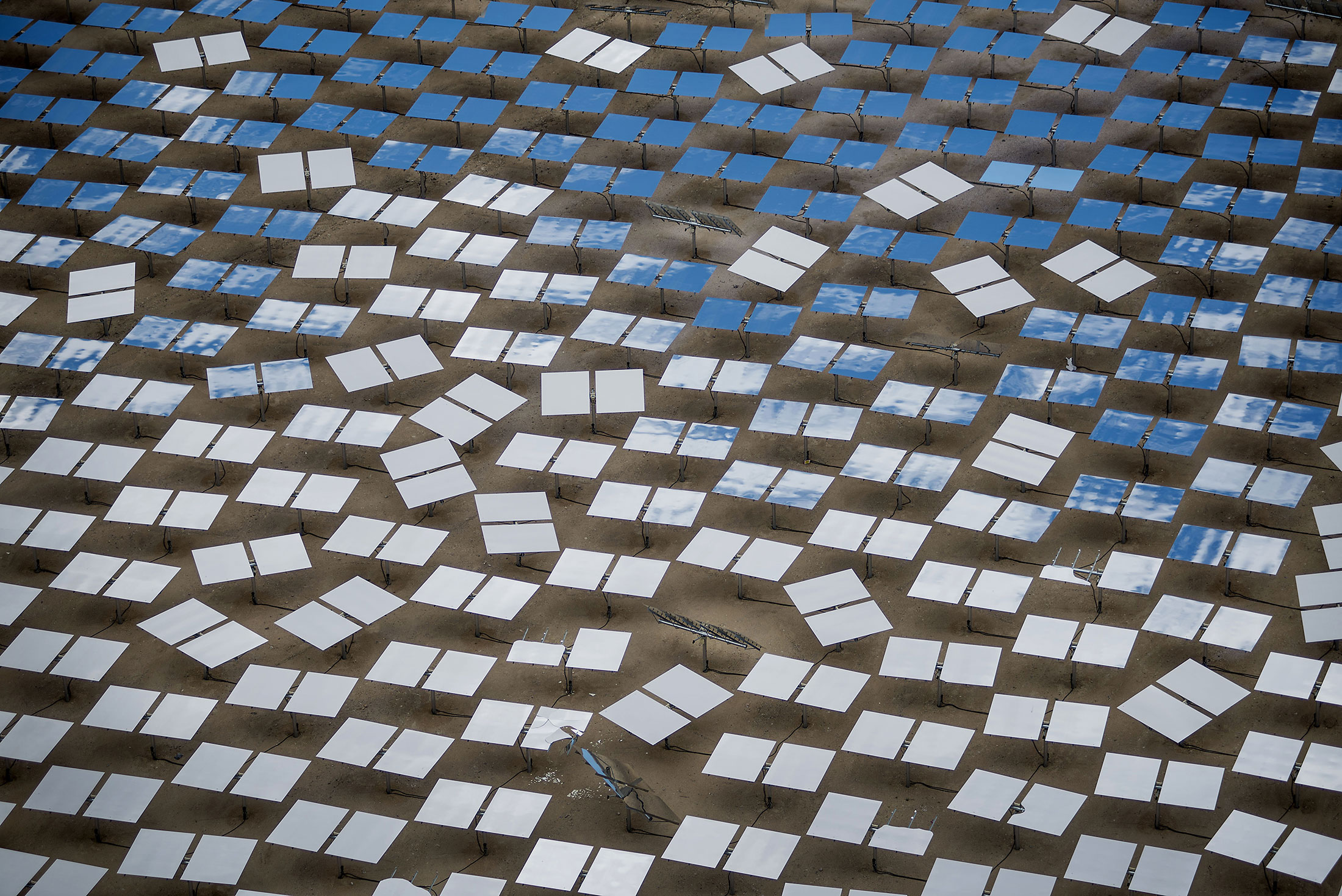 Mirrors stand at the Ivanpah Solar Electric Generating System in the Mojave Desert near Primm, Nevada.