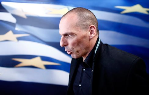 Yanis Varoufakis, Greece's finance minister, speaks to the media following a meeting with Swiss tax officials in Athens, Greece, on Tuesday, April 28, 2015.