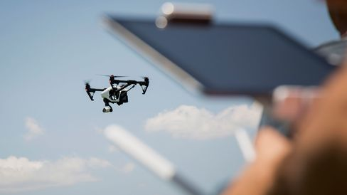 A drone being operated in the borough of Brooklyn, New York City.