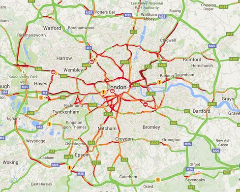 Commuters looked for other means of transport, causing huge congestion across central London. The red lines indicate heavy traffic