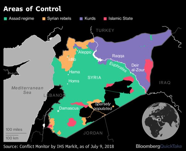Syrias civil war bloomberg conflict monitor by ihs markit as of july 9 2018 gumiabroncs Image collections