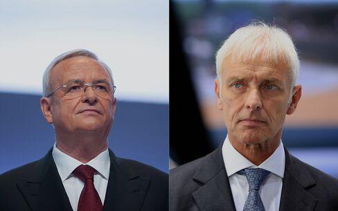 Martin Winterkorn and Matthias Mueller. Photographer: Krisztian Bocsi/Bloomberg