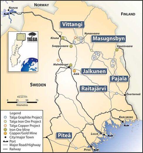 Talga's Sweden project map.