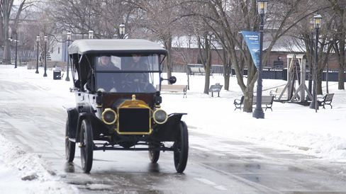 The Ford Model T driving through Greenfield Village near Detroit.