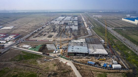 Three Months Into Construction, Tesla China Plant Takes Shape
