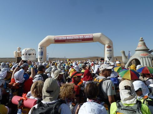 More than 1,400 competitors gather for the start of stage 1 of the Marathon des Sables.