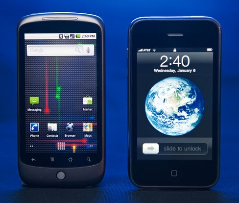 The Google Nexus One smartphone and the Apple iPhone
