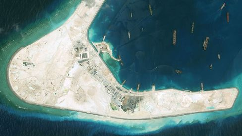 The Subi Reef in the South China Sea, part of the Spratly Islands