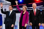 2020 presidential candidates Pete Buttigieg, mayor of South Bend, from left, Senator Elizabeth Warren, a Democrat from Massachusetts, and former U.S. Vice President Joe Biden.
