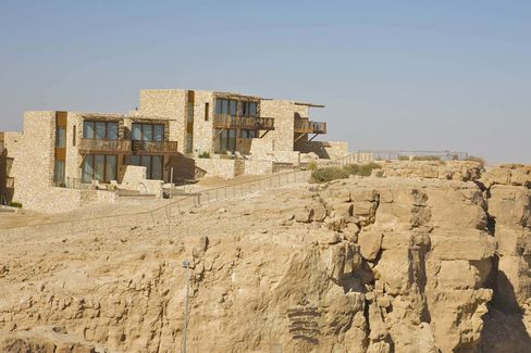 Private pools and balconies at Beresheet look out from the rim atop the Ramon Crater, near Mitspe Ramon in Southern Israel.