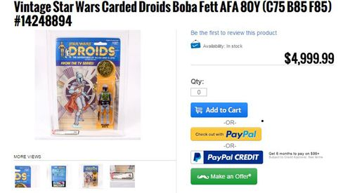 A Boba Fett figure for sale at Brian's Toys
