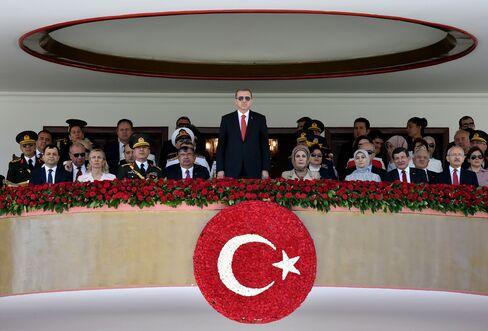 Turkish President Recep Tayyip Erdogan attends the 93th Victory Day Anniversary at Ataturk Cultural Center in Ankara, Turkey, on Aug. 30, 2015.