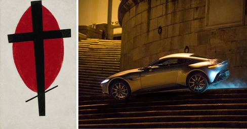 Left: Kazimir Malevich, Mystic Suprematism (Black Cross on Red Oval), 1920-22. Right: A reported $37 million worth of cars was destroyed in the filming of the new James Bond flick.