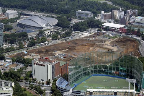 The construction site for a new stadium to replace the National Olympic Stadium.