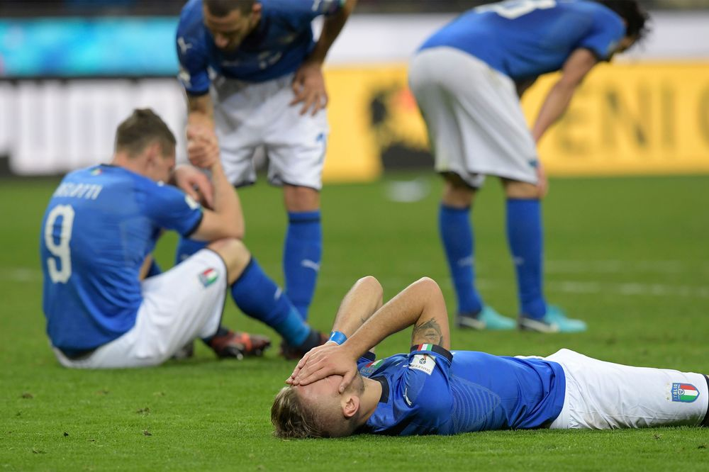 Italian national team players react at the end of the FIFA World Cup 2018  qualification match e900f57d3