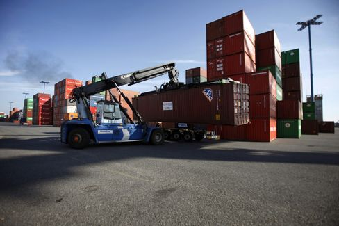 Shipping Containers Sit at the Port of Helsinki