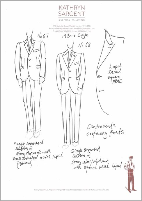 Sargent's sketch of a 1930s style suit.