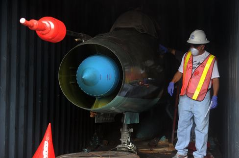 A dismantled jet inside a container aboard the Chong Chon Gang
