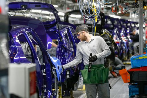The production line at the Nissan Motor Co. plant in Sunderland.