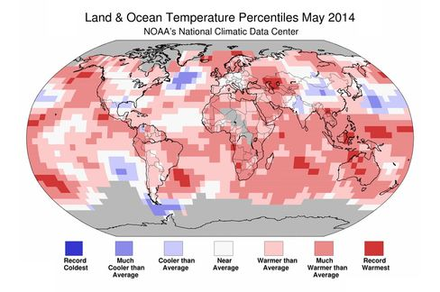 Data from GHCN-M version 3.2.2 and ERSST version 3b on June 17, 2014. Source: NOAA