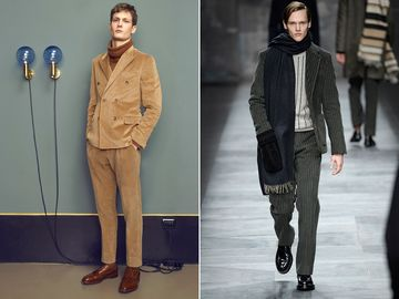 The all-camel look from Boglioli, and a cascade of neutral grays from Fendi.