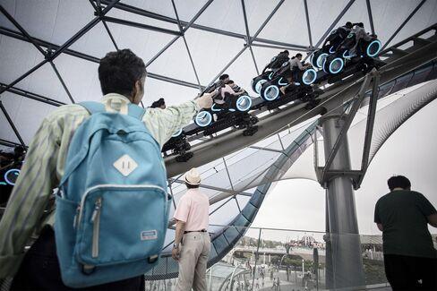 Tron Lightcyle Power Run roller-coaster at the Shanghai Disneyland theme park.