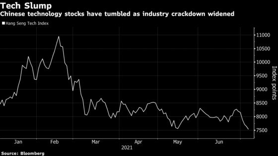 China Tech Rout Deepens as Beijing Targets Data, U.S. Listings