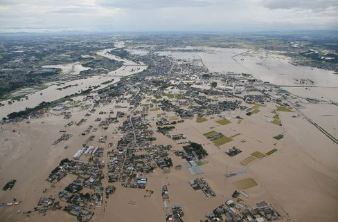 An aerial view shows the flooded city of Joso, Tokyo, on Sept. 10, 2015.