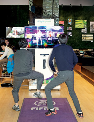 Dance-off at the Samsung D'light showroom in Seoul