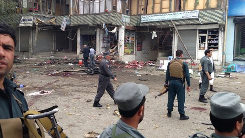 Site of a suicide attack near a bank