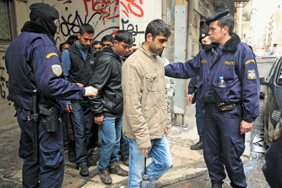 Police check IDs in Athens
