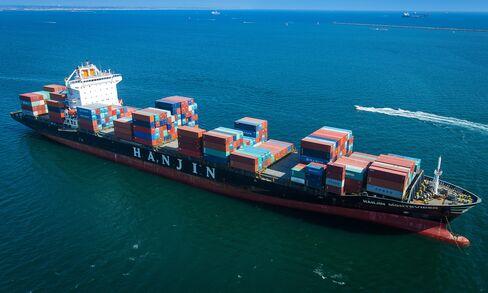 A Hanjin Shipping Co. container ship anchored near Long Beach.