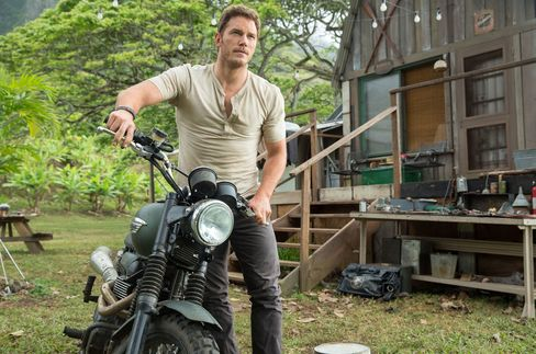 Dinosaur behavioral researcher Owen Grady (Chris Pratt) cruises around Jurassic World on a Scrambler by Triumph Motorcycles. Source: Chuck Zlotnick/ILM/Universal Pictures and Amblin Entertainment via Bloomberg