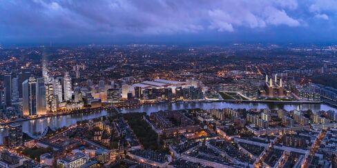 New Covent Garden Market development site sits, left, near Battersea Power Station, right, in London.