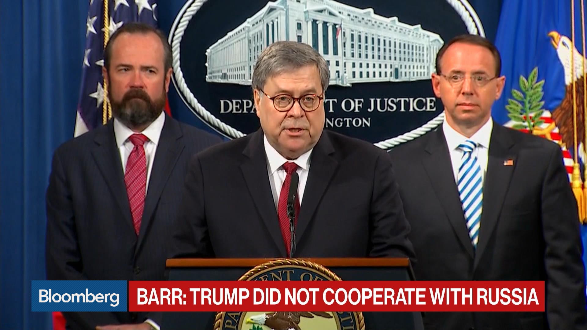 Barr Says Mueller Report Shows No Collusion Between Trump and Russia