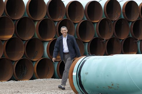 Obama at TransCanada Stillwater Pipe Yard